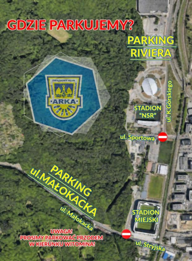 Organizacja ruchu i parkingi wokół stadionu w dniu meczu.