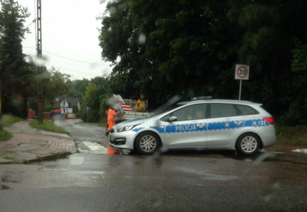 Policja zamknęła wjazd na ul. Wielkopolską.