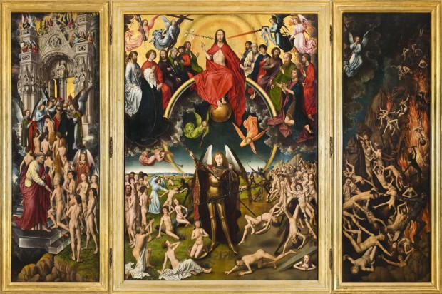 """Mural autorstwa Piotra Szwabego będzie inspirowany środkowym fragmentem widocznego na zdjęciu obrazu """"Sąd Ostateczny"""", ukazującego ważenie dusz."""