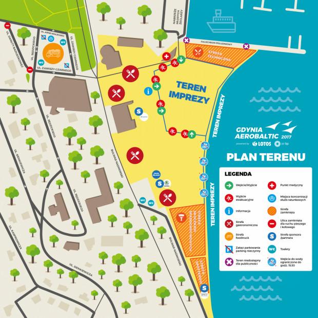 Orientacyjna mapa przygotowana przez organizatorów.