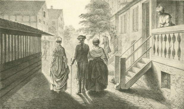 Chodowiecki z matką i siostrą idą z wizytą do pastora Fabritiusa.