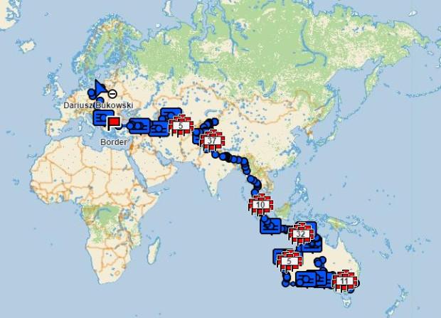 Trasa podróży - od Australii po Polskę.
