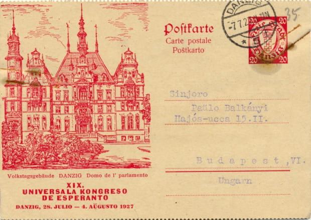 Jedna z kart pocztowych wydanych specjalnie na XIX Światowy Kongres Esperantystów w Gdańsku, 1927 r. (ze zbiorów ÖNB Wien)