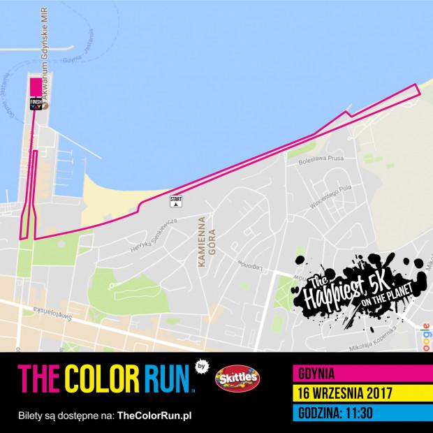 Trasa biegu The Color Run Gdynia 2017.