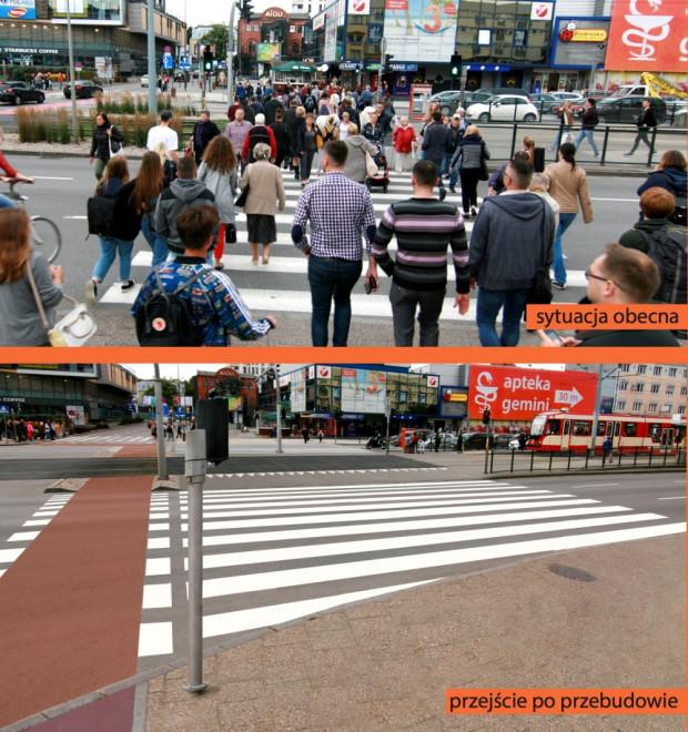 """Wizualizacja wybudowania przejazdów dla rowerzystów i dwukrotnego poszerzenia przejść dla pieszych przez al. Grunwaldzką przy ul. Dmowskiego (przy """"Manhattanie""""). Projekt zawiera: ułatwienie dojścia do przystanków tramwajowych, przesunięcie słupów trakcyjnych poza trasę pieszych, dobudowanie dwukierunkowego przejazdu rowerowego. Również ta część projektu nie wpłynie na ruch samochodowy."""