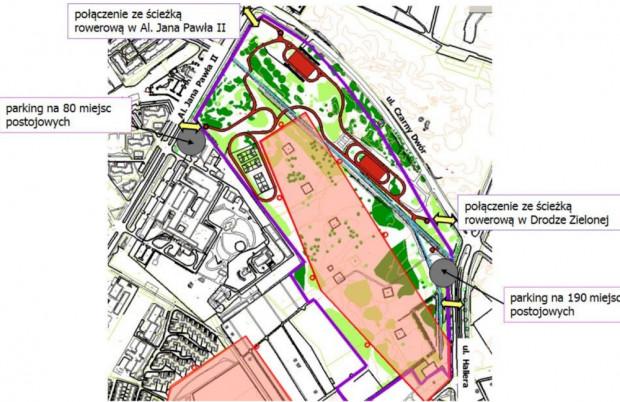 Ogólnomiejski projekt nr 5. Velodrom Gdańsk - etap I; Rowerzyści, wrotkarze, wózkarze u zbiegu ulic Jana Pawła II, Czarny Dwór i Hallera. Oprócz boiska i torów rekreacyjno-wyczynowych sfinansowanych ma zostać rownież aż 270 miejsc postojowych dla samochodów