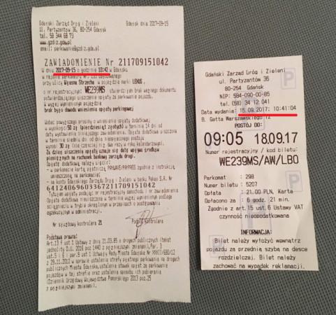"""Po lewej stronie zawiadomienie wystawione przez kontrolera Strefy Płatnego Parkowania, po prawej minutę wcześniej wykupiony bilet postojowy. GZDiZ zapewnia, że """"mandat"""" zostanie anulowany."""