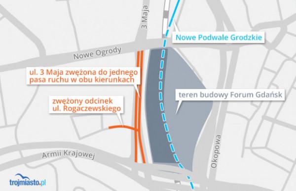 Ul. Okopową między Bramą Wyżynną i Forum Gdańsk, już za rok będzie jeździło znacznie mniej aut niż dziś. Powód? Do użytku zostanie oddana podziemna ul. Nowe Podwale Grodzkie (na rysunku zaznaczona niebieską, przerywaną linią), która pozwoli kierowcom ominąć centrum miasta - Wały Jagielońskie, Hucisko i właśnie Okopową.