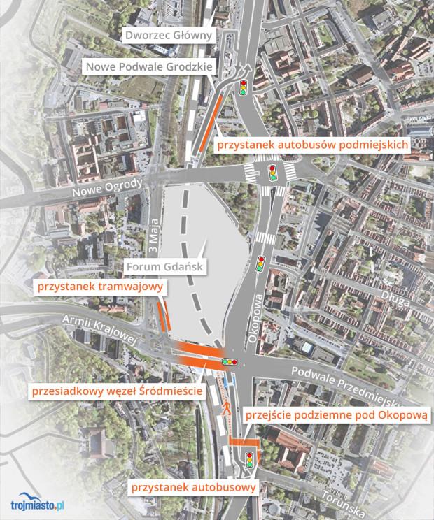 Nowe przystanki i węzeł wokół Forum Gdańsk.
