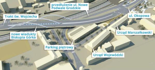 Tak docelowo będzie wyglądał układ drogowy w ramach budowy wiaduktu Biskupia Górka.