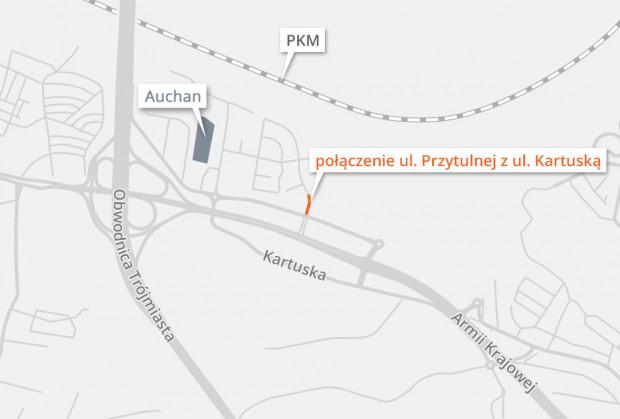Planowane miejsce połączenia ul. Przytulnej i ul. Kartuskiej.