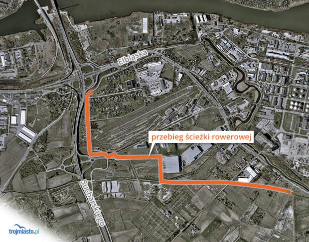 Planowany przebieg ścieżki rowerowej na Rudnikach.