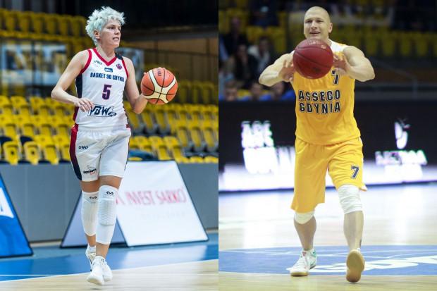 Gdynia jest obecna m.in. na froncie koszulek zarówno koszykarek Basketu jak i koszykarzy Asseco. Na zdjęciach: Jelena Skerović i Krzysztof Szubarga.