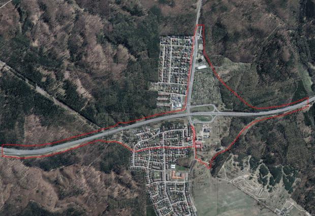 Granice terenu objęte nowym planem zagospodarowania.