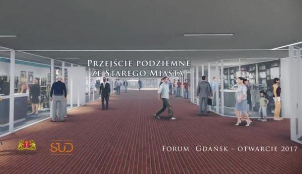 Tak zmieni się wnętrze tunelu pod Okopową, które prowadzić będzie do Forum Gdańsk.