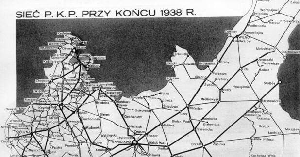 Mapa sieci kolejowej w Polsce w 1938 r. Kliknij, by zobaczyć cały kraj.