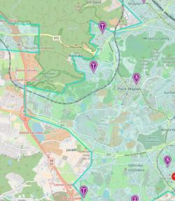 Dostępność samochodów w południowo-zachodniej części Gdańska w niedzielne popołudnie.