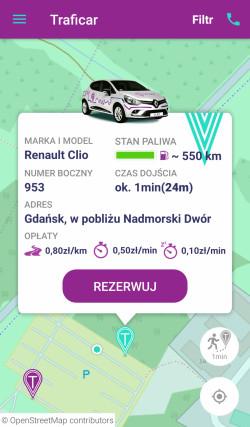 Informacja na temat konkretnego samochodu, możliwego do zarezerwowania.