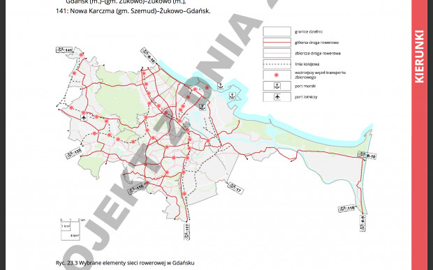 Przykładowy fragment projektu Studium Uwarunkowańi Kierunków Zagospodarowania Przestrzennego Gdańska, wybrane elementy sieci rowerowej.