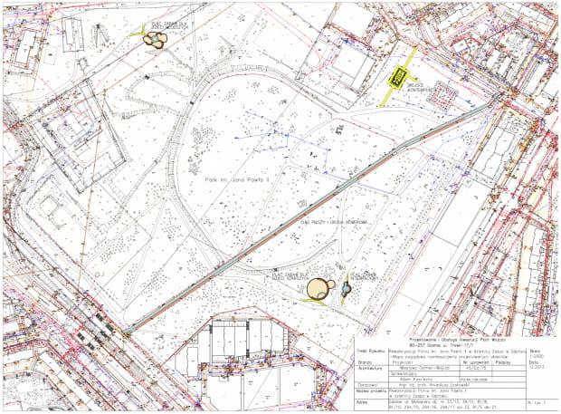 Przykładowy plan projektowy, w tym wypadku opisywanej przez nas niedawno inwestycji: droga dla rowerów przez park Jana Pawła II na gdańskiej Zaspie, zrealizowanej w ramach rewitalizacji parku.