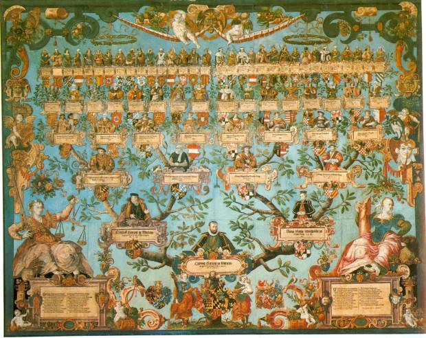 Artystyczne przedstawienie drzewa genealogicznego XVI-wiecznego księcia Ludwika III Wirtemberskiego.