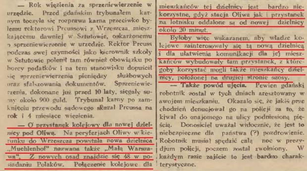 """Notatka poświęcona problemom mieszkańców """"Małej Warszawy"""", zamieszczona w wydaniu Gazety Gdańskiej z 8 maja 1934 r."""