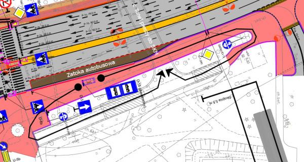 Docelowy układ drogowy po zbudowaniu nowego wiaduktu Biskupia Górka z zaznaczeniem dojścia z przystanku do tunelu pod ul. Okopową.