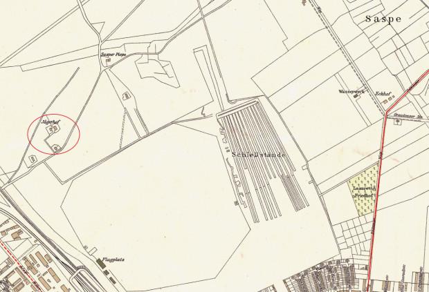 Fragment planu Gdańska z 1933 r. z widocznymi dworami opisanymi w artykule. Jägerhof zaznaczony jest kółkiem.
