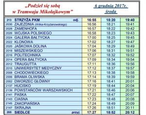 Rozkład jazdy mikołajkowego tramwaju, który wyjedzie na tory 6 grudnia 2017 r.