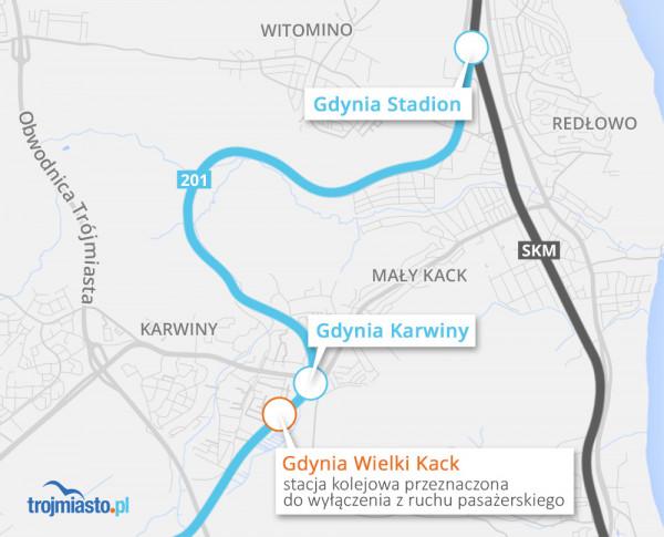 Lokalizacja nowych przystanków PKM w Gdyni.