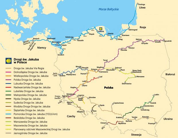 Szlaki św. Jakuba na terenie Polski. Na jasnoniebiesko zaznaczona jest Pomorska Droga św. Jakuba.