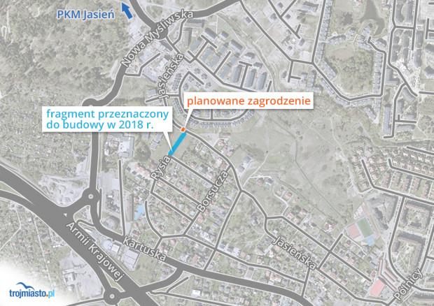 Planowane zamknięcie fragmentu ul. Jasieńskiej nastąpi jednocześnie z budową odcinka ul. Rysiej. Ma to nastąpić w pierwszej połowie 2018 r.