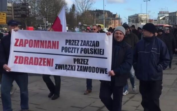 W marcu na ulicach Gdańska protestowali  pracownicy Poczty Polskiej.