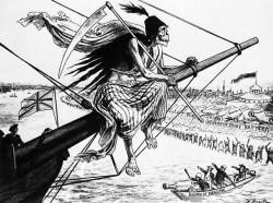 Ponieważ cholera docierała do kolejnych europejskich miast na pokładzie statków, często przedstawiano ją jako wpływającego do portu kościotrupa. Londyńska rycina z drugiej połowy XIX wieku.