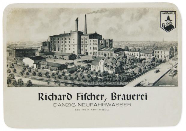Browar Fischera w Nowym Porcie na druku reklamowym, lata 30. XX wieku.