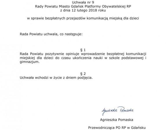 Treść uchwały podjętej przez gdański okręg PO, w skład którego wchodzą samorządowcy, parlamentarzyści oraz pozostali członkowie PO.