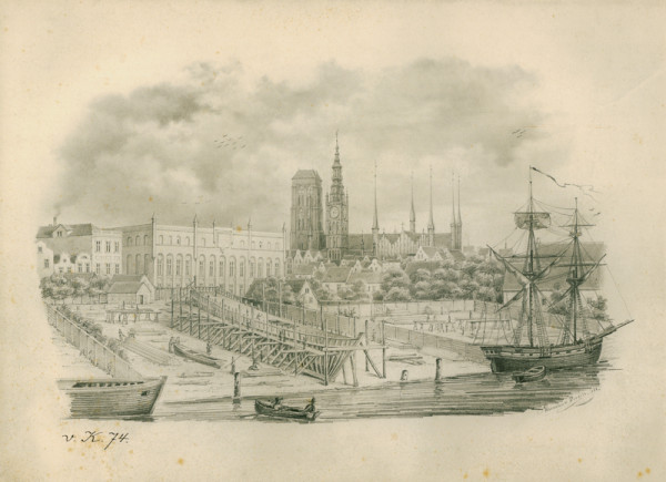Widok Gdańska od strony południowo-wschodniej. Na pierwszym planie stocznia przy ul. Lastadia. Grafika autorstwa Hermana Porcha z 1846 roku.