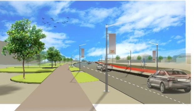 Wizualizacja Drogi Zielonej wykonana na potrzeby Analizy Obsługi Transportowej Dolnego Tarasu.