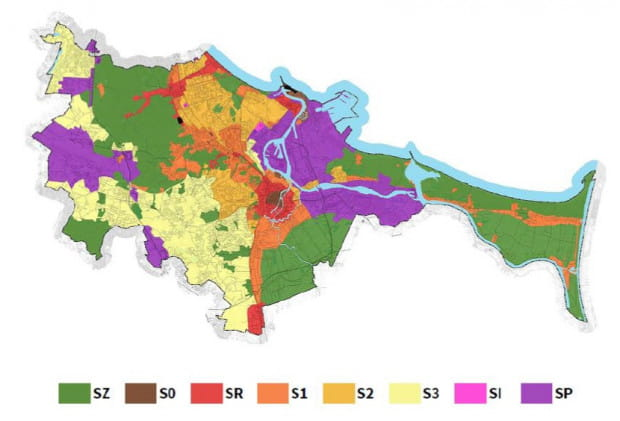 Podział miasta na obszary restrykcji w zakresie sytuowania nośników reklamy. S0 to obszar najcenniejszy pod względem historycznym, SZ - tereny zieleni, SI - obszary indywidualnej promocji, SP - obszary przemysłowe.