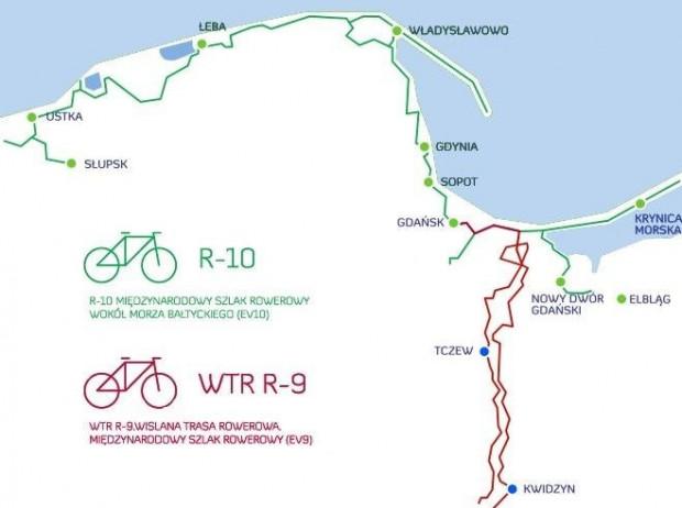 Wizualizacja Międzynarodowych Szlaków Rowerowych R10 i R9 oraz przebiegu Wiślanej Trasy Rowerowej