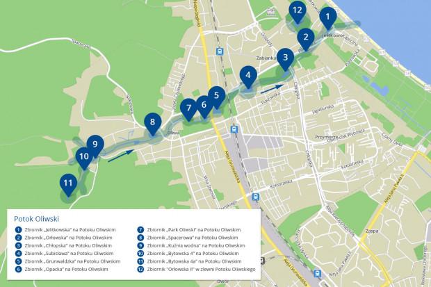 Istniejące zbiorniki retencyjne na Potoku Oliwskim.