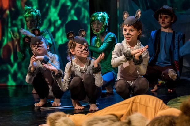 """Jednym z rezydentów Teatru na Plaży jest grający i przygotowujący tu spektakle z udziałem dzieci Sopocki Teatr Muzyczny Baabus Musicalis. Na zdjęciu """"Wielka podróż Dorotki""""."""