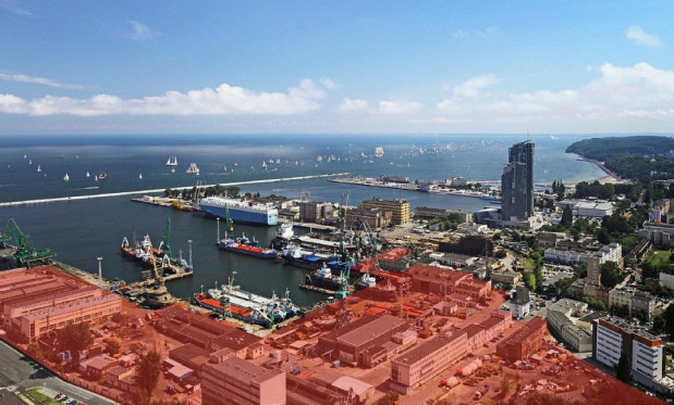 Na zdjęciu zaznaczony teren Nauty kupiony przez Port Gdynia.