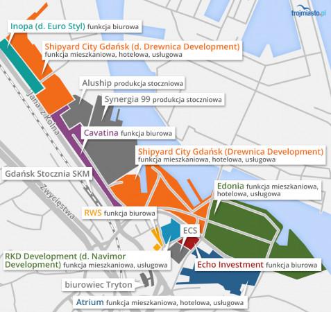Teren, który został poddany konkursowemu opracowaniu należy do spółki Edonia (część zielonego obszaru na infografice).