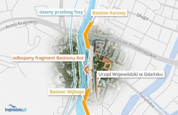 Lokalizacja Bastionu Wijbego - dawny obiekt znajdował się przed dzisiejszym Urzędem Wojewódzkim.