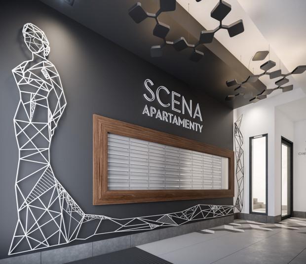 Wizualizacja strefy wejścia do powstającego budynku Scena Apartamenty przy ulicy Szymanowskiego we Wrzeszczu. Projekt powstał w pracowni dewelopera, firmy Euro Styl.