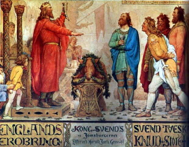 Sven Widłobrody i jego wikingowie z Jomsborga na pogrzebie ojca Svena, Haralda Sinozębego. Wizja artystyczna XIX-wiecznego malarza Lorenza Frølicha.