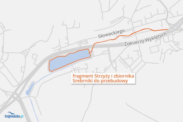 Zakres planowanych prac na zbiorniku Srebrnik i Potoku Strzyża.