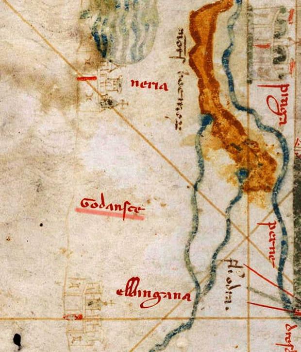 Na mapie Angelino Dulcerta z 1339 roku widnieje błędnie umiejscowiona nazwa 'Godansce'.