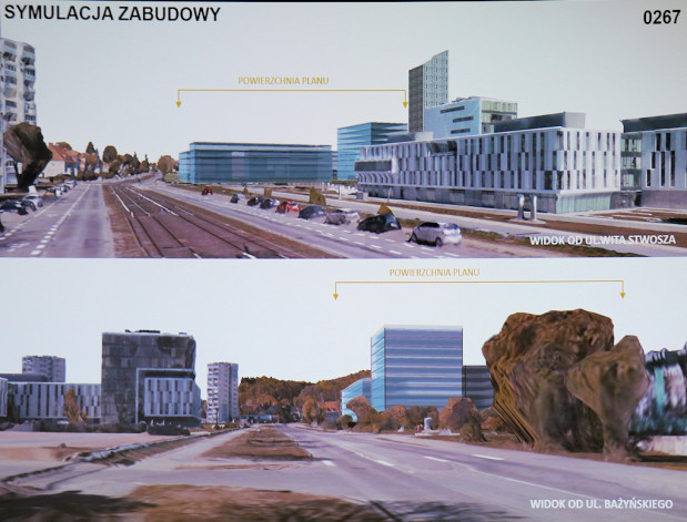 Potencjalna forma zabudowy terenów UG na podstawie koncepcji planu.